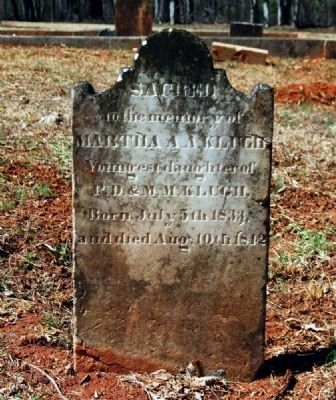 Martha A.A. Klugh (1833-1842)<br>Tombstone image. Click for full size.