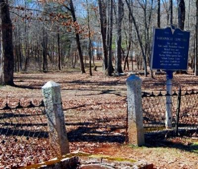 Tabernacle Cemetery Marker -<br>Path to the Left Leads from Parking Gate image. Click for full size.