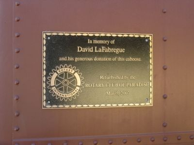 Plaque Mounted on the B.C.R.R. Caboose image. Click for full size.