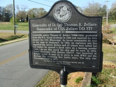 Gravesite of Lt Thomas E Zellars -Namesake of USS Zellars DD 777 Marker Photo, Click for full size
