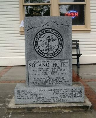 Solano Hotel Marker (Obverse) image. Click for full size.
