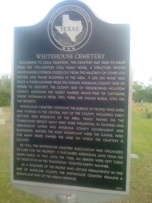 Whitehouse Cemetery Marker image. Click for full size.