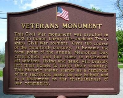 LaFayette-Jackson Twp Veterans Monument Marker (Side A) Photo, Click for full size
