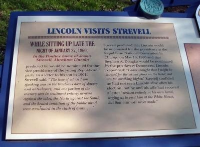 Left Section - Lincoln Visits Strevell Marker image. Click for full size.