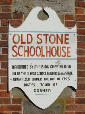 Secondary sign mounted next to Old Stone Schoolhouse front door image. Click for full size.
