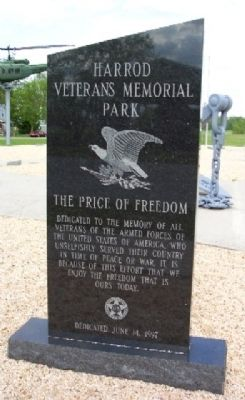 Harrod Veterans Memorial Park Marker (Front) Photo, Click for full size