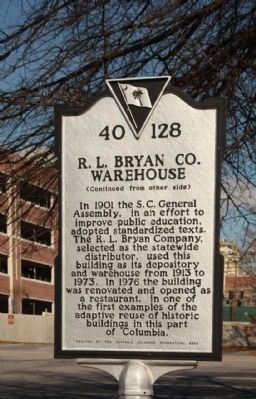 R.L. Bryan Co. Warehouse Marker, reverse side image. Click for full size.
