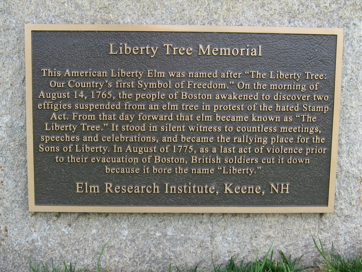 Liberty Tree Site In Boston Where The Sons Of Liberty