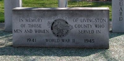 Stone Marker - - W. W. II War Memorial - Livingston County Illinois image. Click for full size.