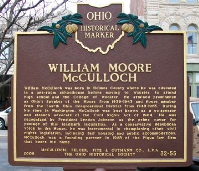 William Moore McCullough Marker (Side A) image. Click for full size.