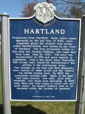 Hartland Marker Photo, Click for full size