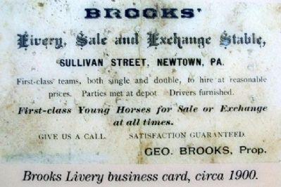Brooks' Livery Business Card image. Click for full size.