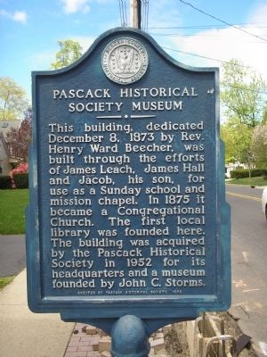 Pascack Historical Society Museum Marker image. Click for full size.