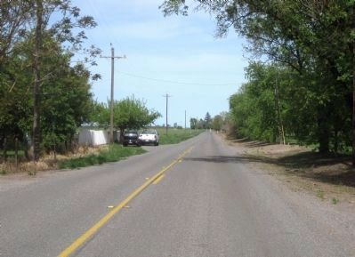 The Pony Express route today - Silveyville Road looking east toward Sacramento from the marker site image. Click for full size.