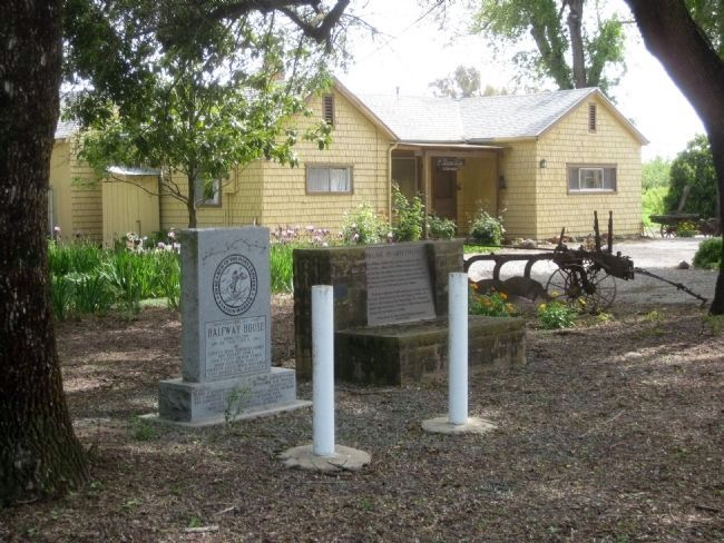 Halfway House Marker, Village of Silveyville Marker, and <i>The Stage Stop</i> Photo, Click for full size