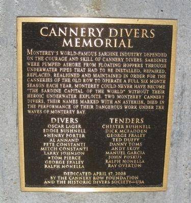 Cannery Divers Memorial Marker Photo, Click for full size
