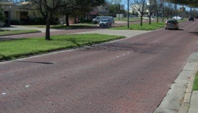 Camp Bowie Boulevard is paved with bricks. image. Click for full size.