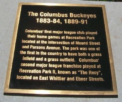 The Columbus Buckeyes Marker Photo, Click for full size