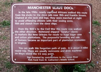 Manchester Slave Dock Marker Photo, Click for full size
