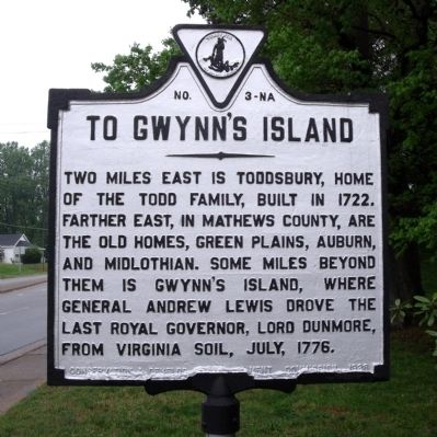To Gwynn's Island Marker image. Click for full size.