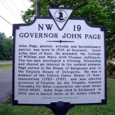 Governor John Page Marker image. Click for full size.