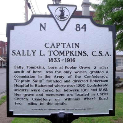 Captain Sally L. Tompkins, C.S.A. Marker image. Click for full size.