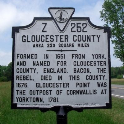 Gloucester County Marker (obverse) image. Click for full size.