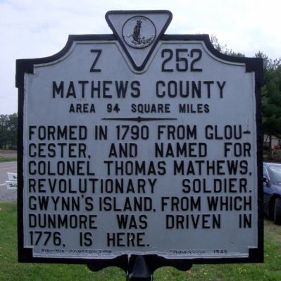 Mathews County Marker (reverse) image. Click for full size.