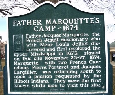 Father Marquette's Camp - 1674 Marker image. Click for full size.
