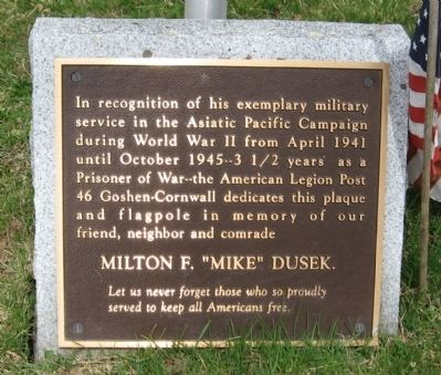 "Milton F. ""Mike"" Dusek Memorial Marker image. Click for full size."