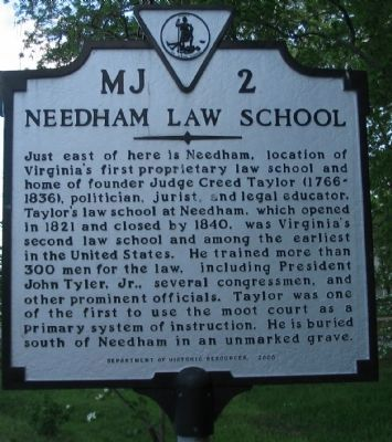 Needham Law School Marker image. Click for full size.