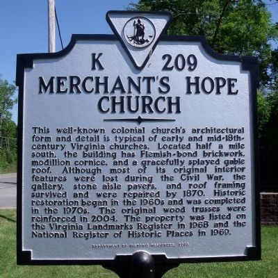 Merchant's Hope Church Marker image. Click for full size.