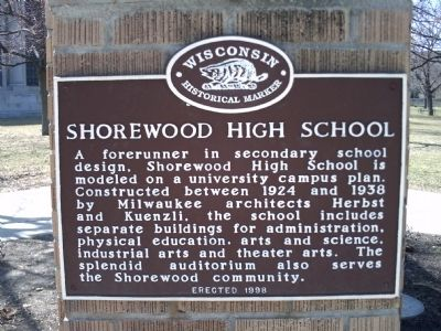 Shorewood High School Marker Photo, Click for full size