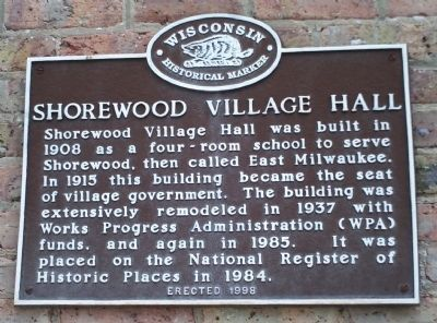 Shorewood Village Hall Marker Photo, Click for full size