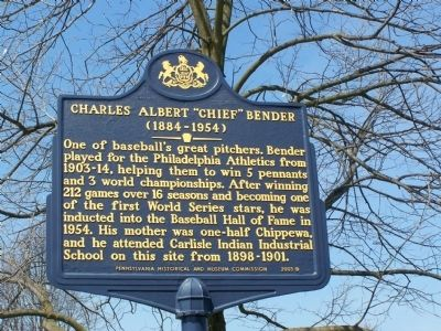 "Charles Albert ""Chief"" Bender Marker image. Click for full size."