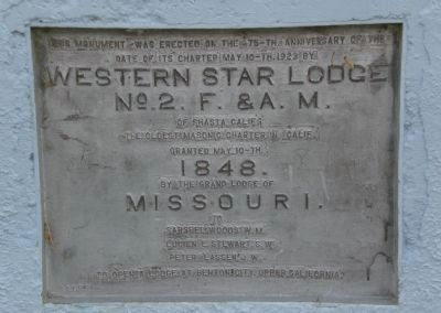 Western Star Lodge No. 2 Free and Accepted Masons Marker image. Click for full size.