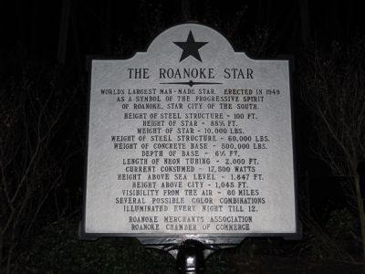 The Roanoke Star Marker image. Click for full size.