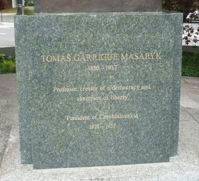 Tom� G. Masaryk statue base - north face Photo, Click for full size