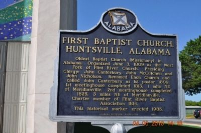 The First Baptist Church Huntsville Alabama Marker image. Click for full size.
