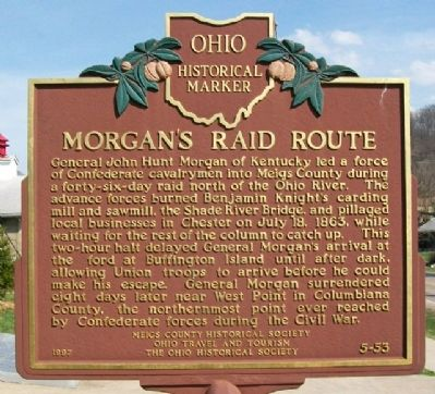 Morgan's Raid Route Marker (Side A) image. Click for full size.