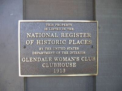 Glendale Woman's Club Clubhouse NRHP Plaque image. Click for full size.