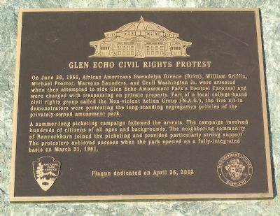 Glen Echo Civil Rights Protest Marker Photo, Click for full size