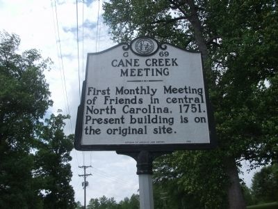 Cane Creek Meeting Marker image. Click for full size.