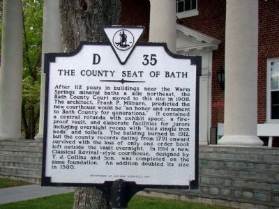 The County Seat of Bath Marker image. Click for full size.
