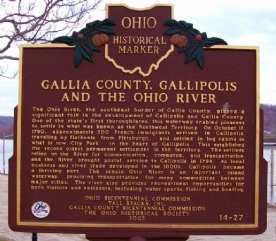Gallia County, Gallipolis and the Ohio River Marker image. Click for full size.