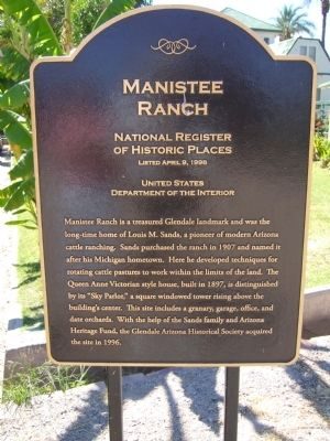 Manistee Ranch Marker Photo, Click for full size