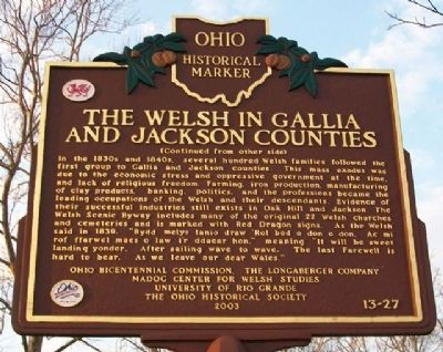 The Landing of the Welsh in Gallipolis Marker (Side B) image. Click for full size.