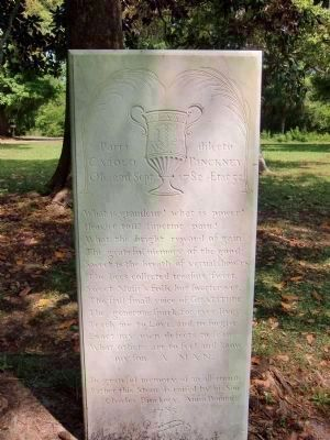"Monument to ""Colonel"" Charles Pinckney - a Loyalist and the preceding master of Snee Farm, image. Click for full size."
