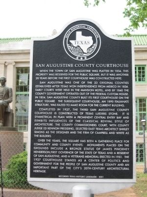 San Augustine County Courthouse Marker image. Click for full size.