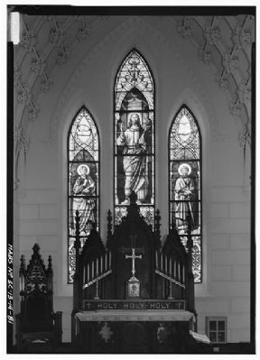 Church of the Holy Cross Original (1851) Stained Glass Window in Chancel, from Church Interior image. Click for full size.